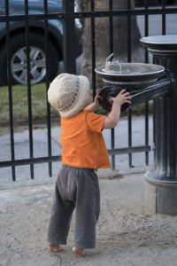 Little Boy at Drinking Fountain